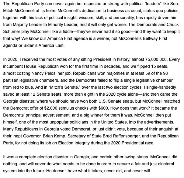 """Trump's Statement on Mcconnell: """"The Republican Party can never be respected or strong again with political 'leaders' like Sen. Mitch Mcconnell at its helm... Mitch is a dour, sullen, and unsmiling political hack."""" https://t.co/A7VyfNJDjT"""
