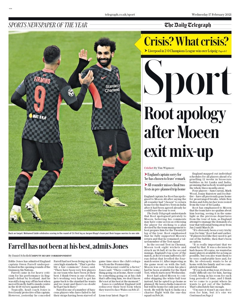 """Telegraph reporting Joe Root has apologised to Moeen Ali for today's """"chosen to go home"""" comments. Moeen was sticking to a plan devised by the England management team. Too late, damage already done. #bbccricket"""