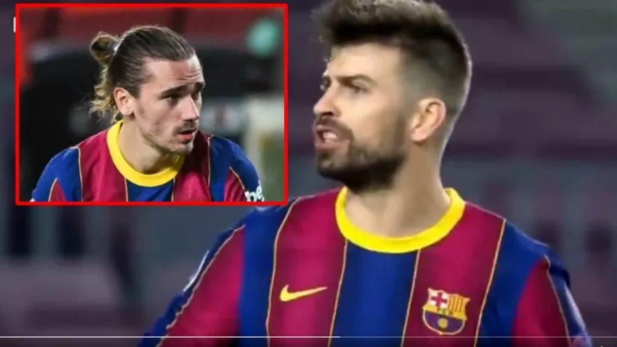 """""""Concha de su madre tú"""": se filtró pelea entre Piqué (@3gerardpique) y Griezmann (@AntoGriezmann) en pleno partido⚽👇"""