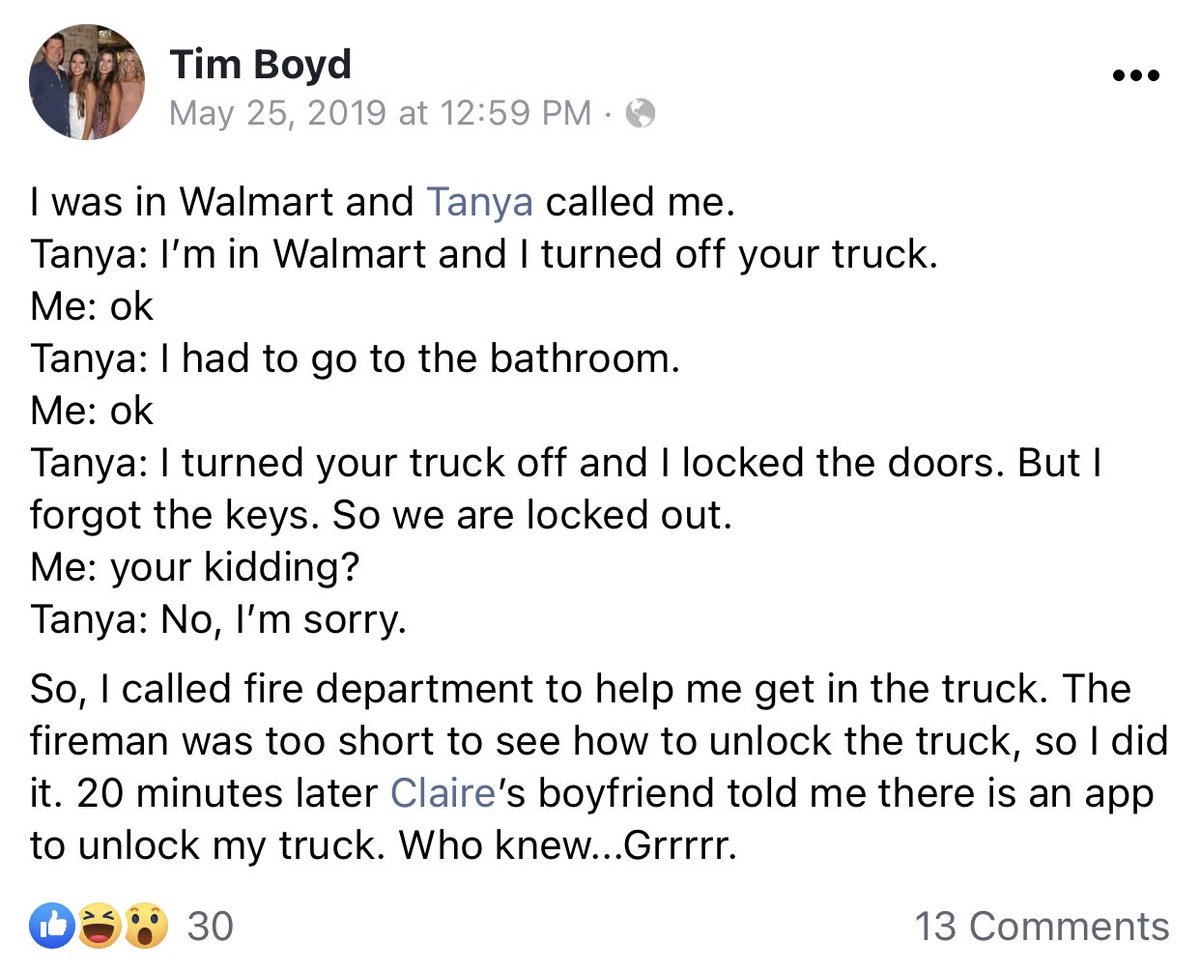 @mike10010100 @EasternIowan But he called the fire department when his wife locked the keys in the truck at Walmart. Did the FD owe him that?
