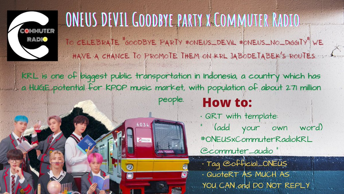 "[PROJECT] #ONEUS_DEVIL GOODBYE PARTY  Please help us to QUOTE RETWEET this tweet AS MUCH AS YOU CAN with:  "" (add your own word) #ONEUSxCommuterRadioKRL @commuter_audio ""  500 QRT = 1 Song  FIRST GOAL 500 QRT in 48 HOURS for #ONEUS_NO_DIGGITY  Do NOT REPLY please. 💛"