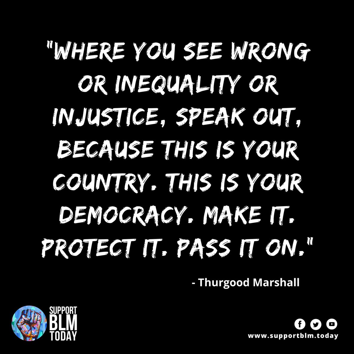 Make it. Protect it. Pass it on    #blacklivesmatter #blmquotes #blm #blm2021 #equality #racism #solidarity #blacklives #mlk #blmmovement #nojusticenopeace #blacklivesmatterplaza #blmprotest #blmfist