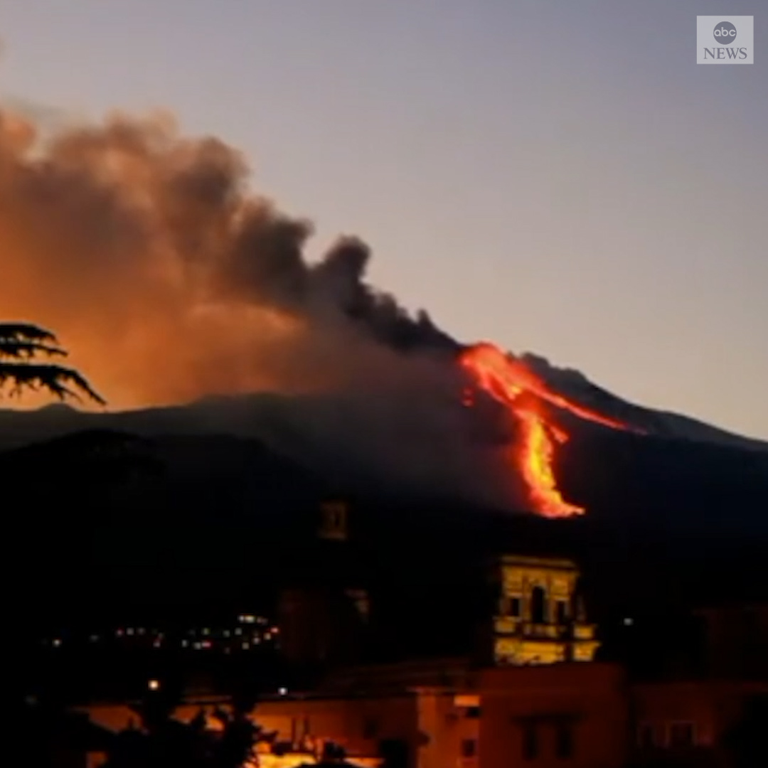 ERUPTION: Timelapse footage captures Sicily's Mount Etna, Europe's most active volcano, shooting lava and ash into the sky.