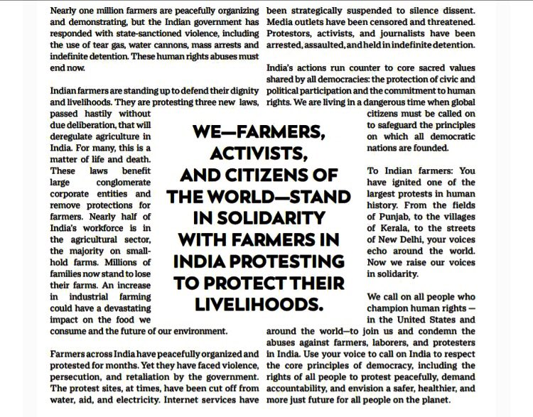 """Proud to support this ad in the New York Times on behalf of #ApnaGhar in support of the #farmersprotest in India. Thanks Justice for Migrant Women ❤️ """"To fight, to dissent is to love"""" ~ Asma Jahangir #defendinghumanrights #defendingindiandemocracy"""