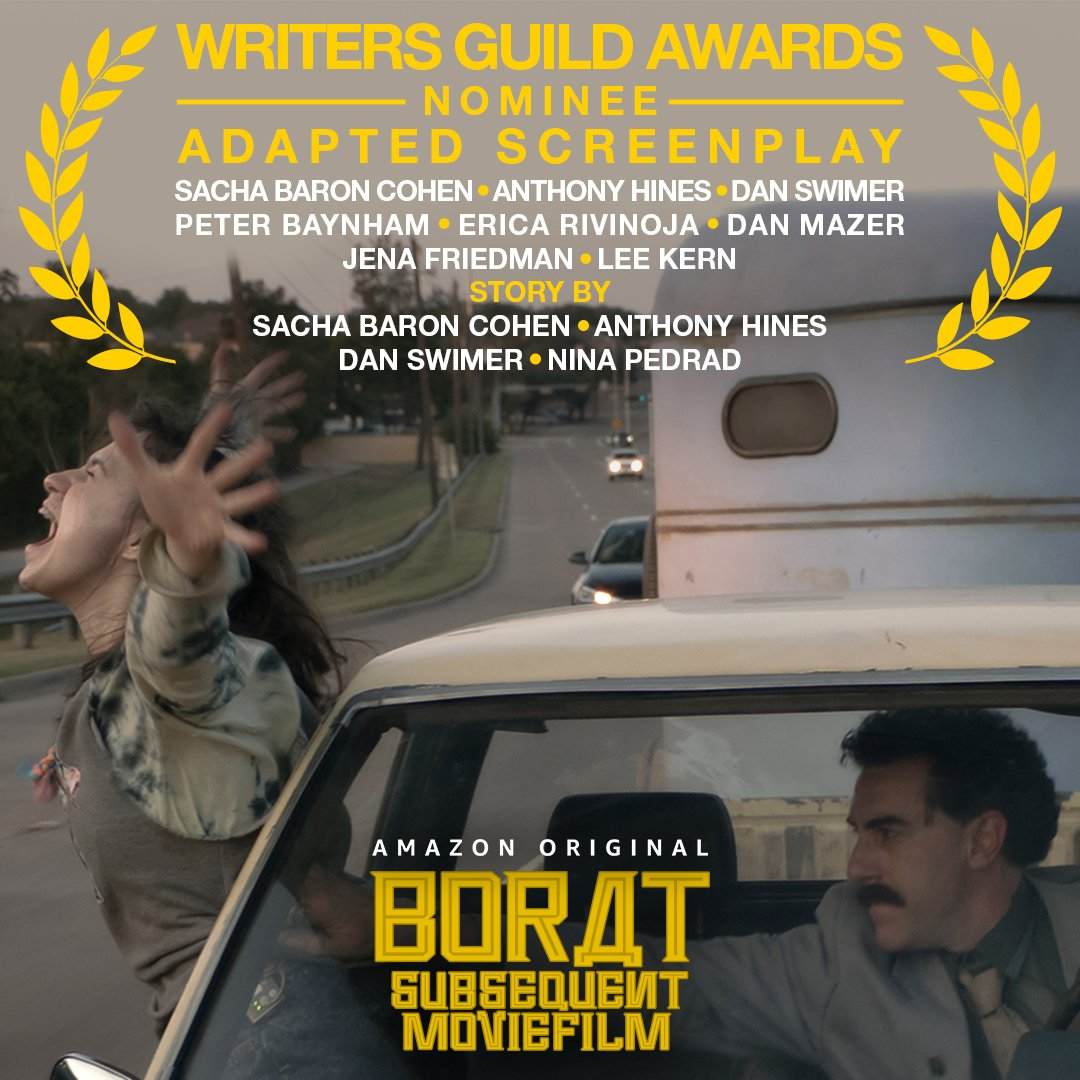 This is what every screenwriter dreams of! Thank you to the #WGAAwards for our nominations for Borat, One Night in Miami..., Sound of Metal, and All In!