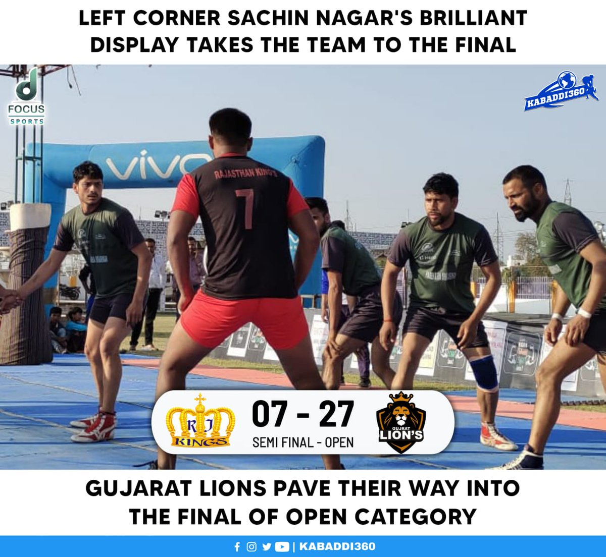 Gujarat Lions become the first finalist of Open category 🎉 Do not miss the final matches of AKL on Kabaddi360 YouTube 📲    #AgraKabaddiLeague #Kabaddi360 #KabaddiResults
