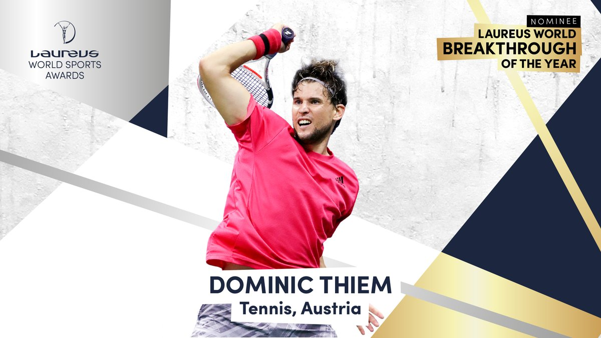 His 2020 @usopen victory saw him become the first male player born in the 90s to win a Grand Slam singles title 🏆  World No.3 status made him the second highest ranked Austrian player in history 🇦🇹  @ThiemDomi has been nominated for the #Laureus21 Breakthrough of the Year Award