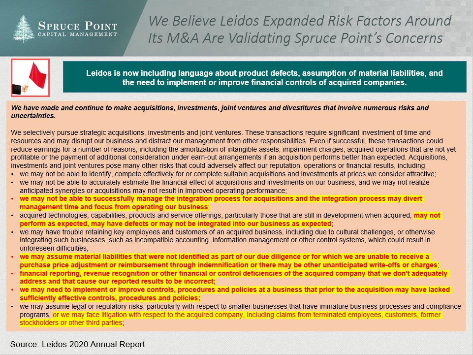 """$LDOS #LEIDOS big increase of risks around acquisitions. Even mentions """"product defects"""" now, assumption of material liabilities + """"financial reporting, revenue recognition and control deficiencies that we don't address that cause our reported results to be incorrect"""" #bearish"""