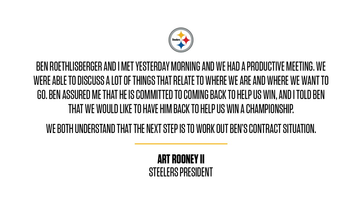 Statement from #Steelers President Art Rooney II on QB Ben Roethlisberger: