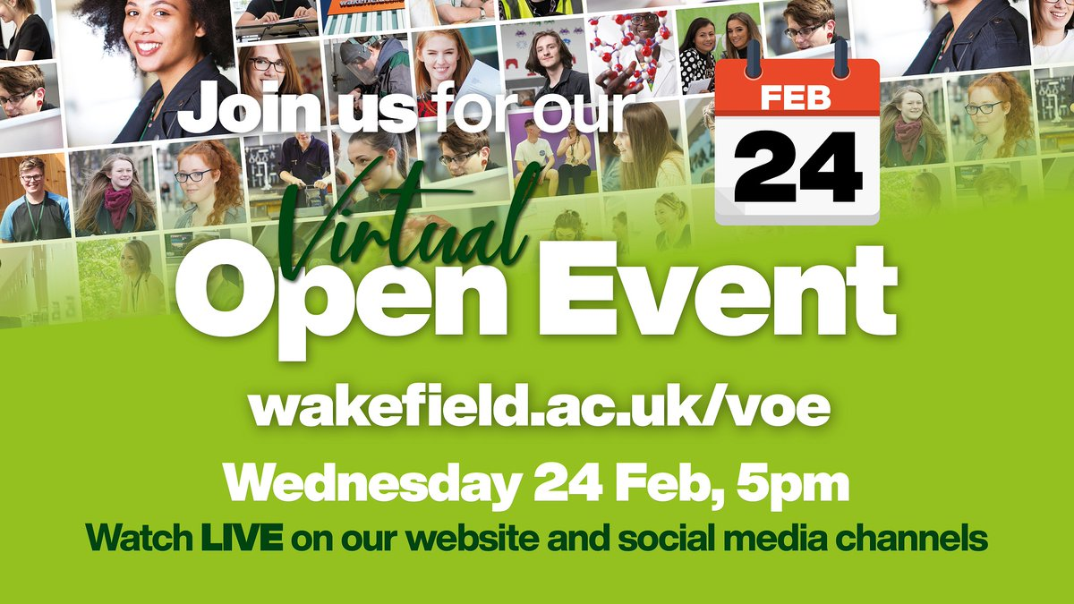 Wakefield College are holding a Virtual Open Event at 5.00pm today. Watch live through the following link: https://t.co/AFk7gkMJG6 #openevent @wakeycollege