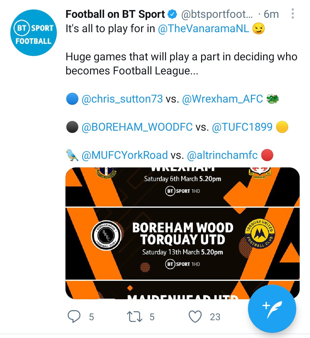Blimey ! That first game is a little one sided. Especially given Chris Suttons' age ! 😱😱😱 @btsportfootball @chris_sutton73 @Wrexham_AFC @VancityReynolds