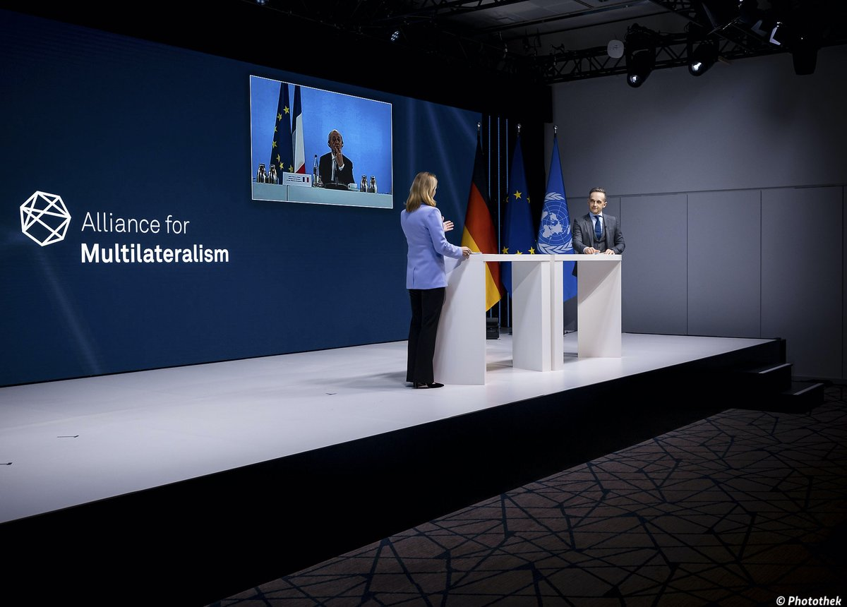 """""""The pandemic, the digital revolution and climate change remain the top challenges of our times. It is on us to show that multilateralism is the answer"""" - @HeikoMaas during today's virtual meeting of the Alliance for Multilateralism. #MultilateralismMatters"""