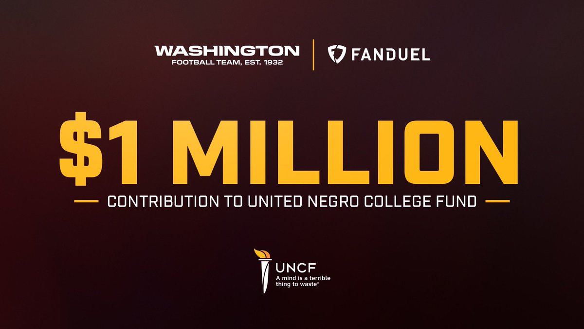 We've teamed with @FanDuel to announce a $1 million contribution to the United Negro College Fund (UNCF).  The FanDuel/Washington Football Team Emergency Student Aid Fund will support Virginia's HBCU students.  ➡️