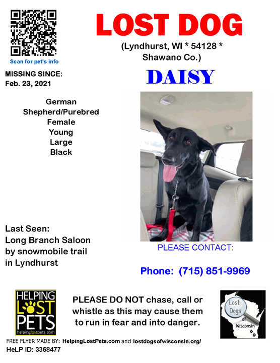 LOST DOG Daisy 02-23-2021! #Shawano Co., #Lyndhurst (Long Branch Saloon by snowmobile trail in Lyndhurst), WI 54128. Daisy/Female *** German Shepherd/Purebred *** Black/Young/Large  I have MS and just got my service dog today. When I took her out to go p…