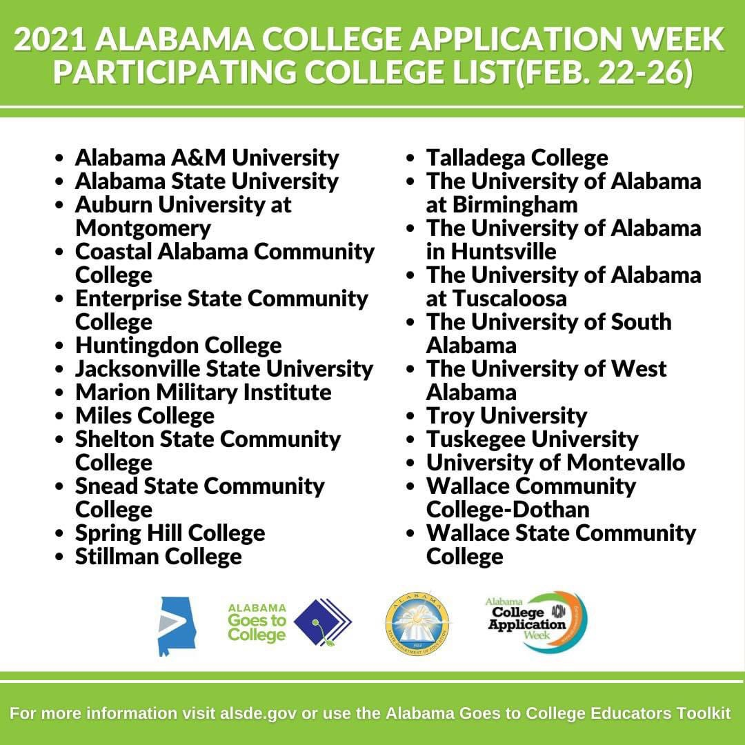 This week is Alabama College Application Week! Don't miss your chance to apply to these Alabama colleges for free🤑 #ALGoes2College #WhyApply #ReachHigher