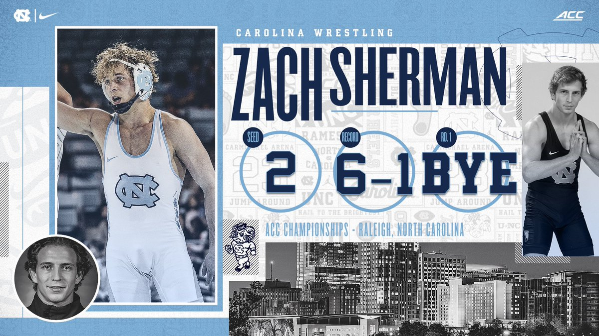 Zach Sherman (141) is looking to win his second-straight ACC title after last year's victory at 141 pounds. Zach has a 6-1 record this season.   #GoHeels | #WeWantMore