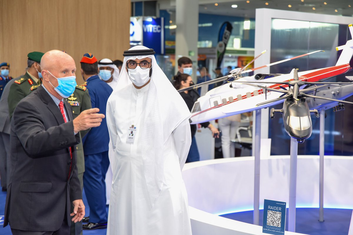 HE Mohammed Al Bawardi, UAE Minister of State for Defense Affairs visited #LockheedMartin today @IDEX_UAE and toured the stand and was briefed on the AI capability for aircraft inspection, developed by the #CISS interns #InAbuDhabi