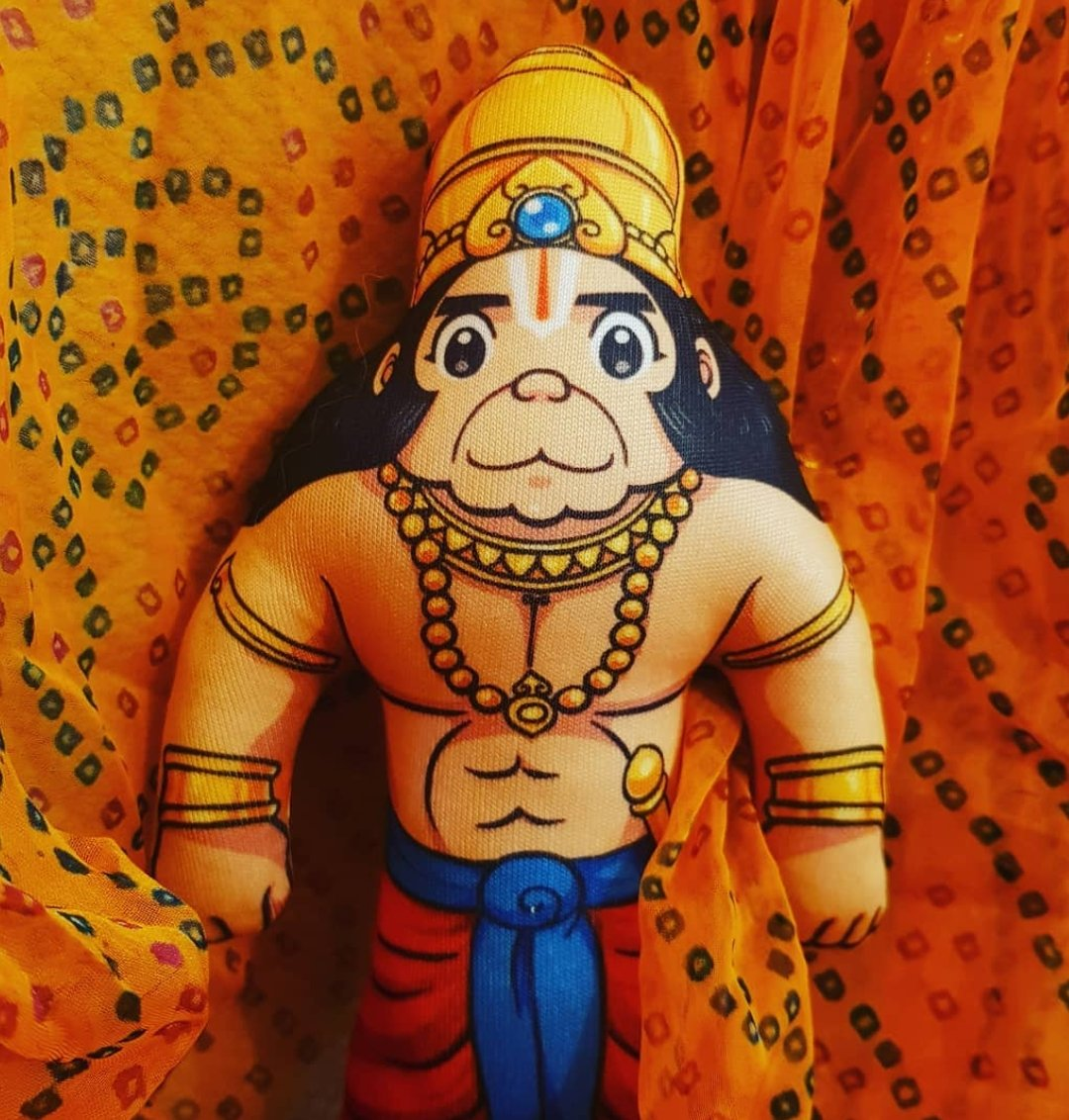 Here's our Hanuman doll 💛 Have asked a few questions related to him in the following tweets :  (Thread 1/7 )