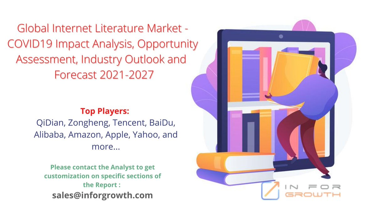 Global Internet Literature Market #OpportunityAssessment, #Competitive #Intelligence, #RevenueAnalysis by 2027 Top Players: @amazon @Apple @Yahoo @HEZONGHENG @TencentGlobal @Baidu_Inc @Alibaba etc View Complete Report: https://t.co/D0Yi7rJYgA   #InternetLiterature #Amazon #Apple https://t.co/ALLMXc87uG