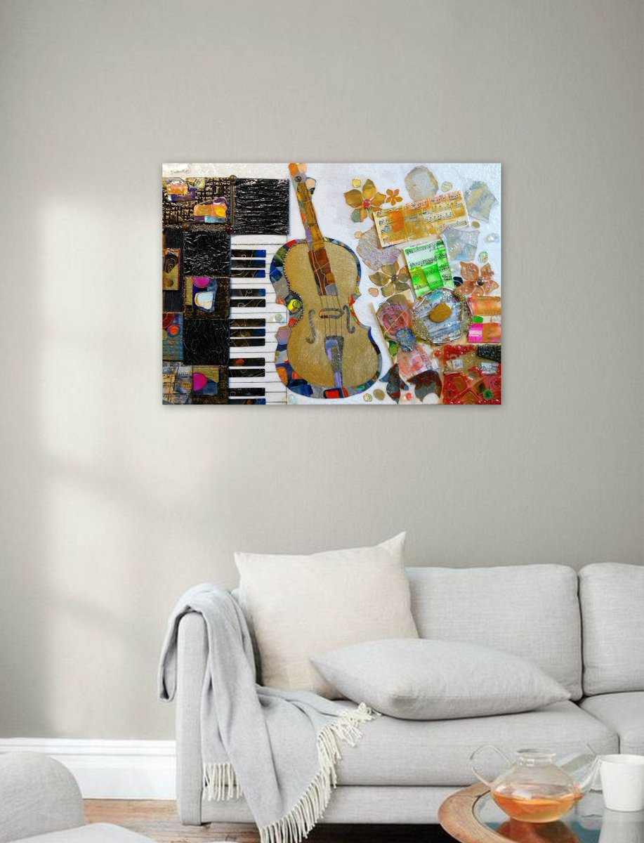 I am excited to have the latest addition to my #etsy-Shop vorzustellen: Original acrylic painting, Music piano painting, Violin art, Collage, Epoxy resin, Wall art deco, Modern abstract painting. Birthday Gift  #office #leinwand #horizontal #mu