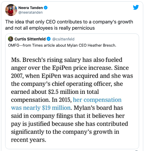 So it turns out Neera Tanden criticized @Sen_JoeManchin's daughter for her extraordinary pay increases, after she raised the price of the Epi-Pen from $100 to $600 and moved Mylan's HQ to the Netherlands to reduce taxes. .