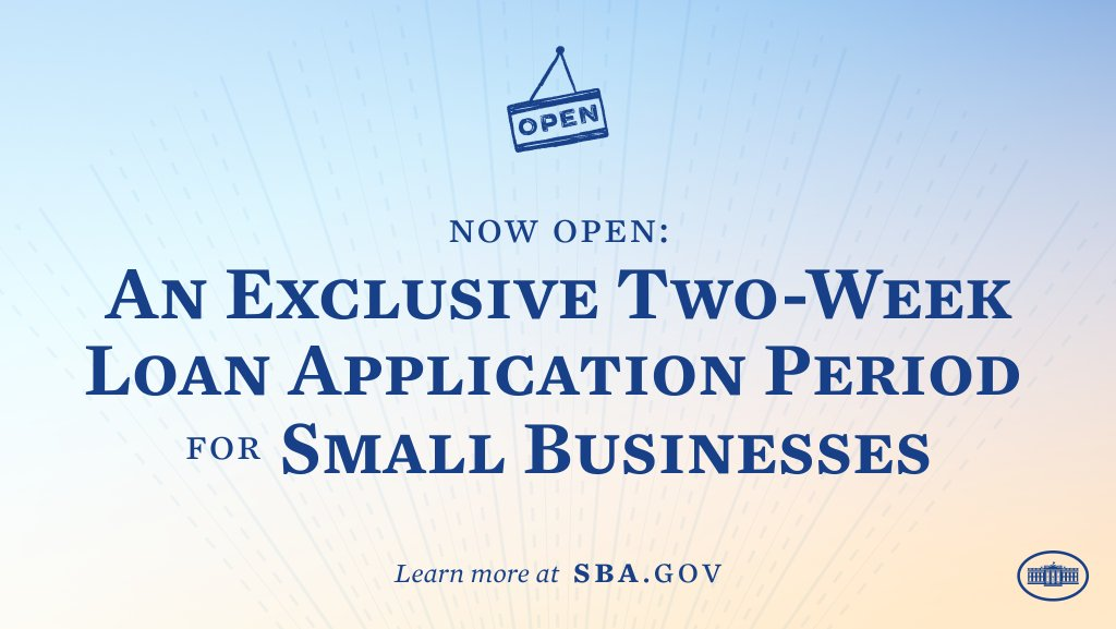 Small businesses need relief, but many were muscled out of the way by big companies last year. That's why starting today, we're opening an exclusive 14-day loan application period for businesses and nonprofits with fewer than 20 employees.  Learn more: