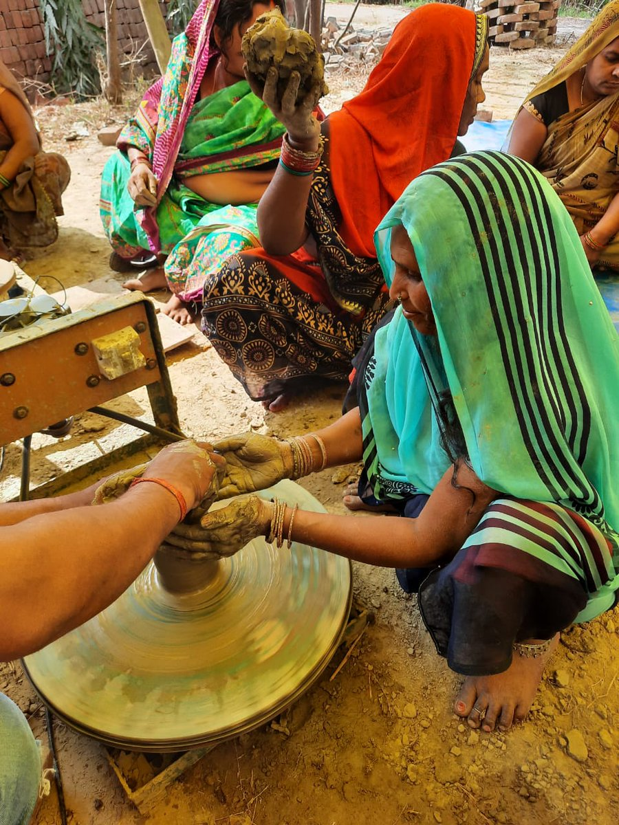 Handicrafts Technical Training Program of ST artisans at Azamgarh in craft Black Pottery organised by #UPIDR sponsored by DC Handicrafts, Ministry of Textiles, Govt of India. #Azamgarh #blackpottery