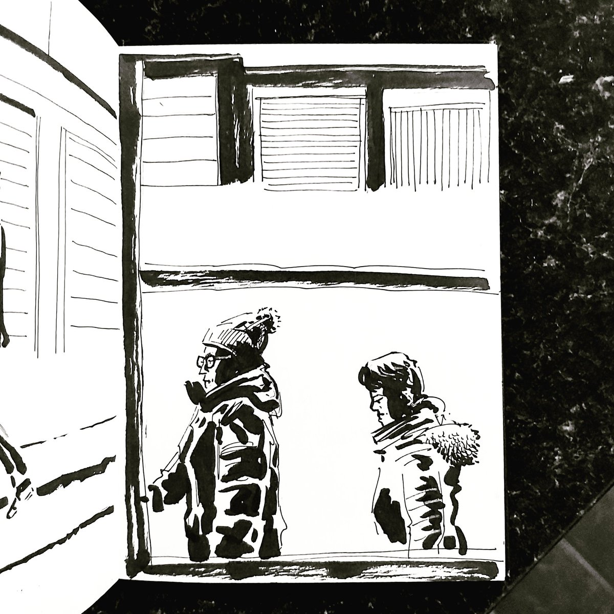 From the Inside 2 Day 112 (261 total) #isolation study Kitchen window Passerby No 151/152#isolationlife #stayathome #lockdown #lockdown2uk #sketchbook #sketch #drawing #draw #doodle #ink #lineart #lifedrawing #figuredrawing #walk #artoftheday #art #artwork #artist #illustration