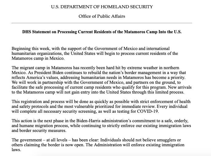 BREAKING: DHS announces it will begin to process residents of the Matamoros camp in Mexico. This is a significant development for the camp, where hundreds subject to harsh Trump-era policies waited in deplorable conditions.