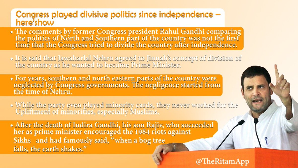 The comments by former Congress president Rahul Gandhi comparing the politics of North and Southern part of the country was not the first time that the Congress tried to divide the country after independence.  @TVMohandasPai @RatanSharda55 @vinod_bansal @VSKASSAM @VSKKokan