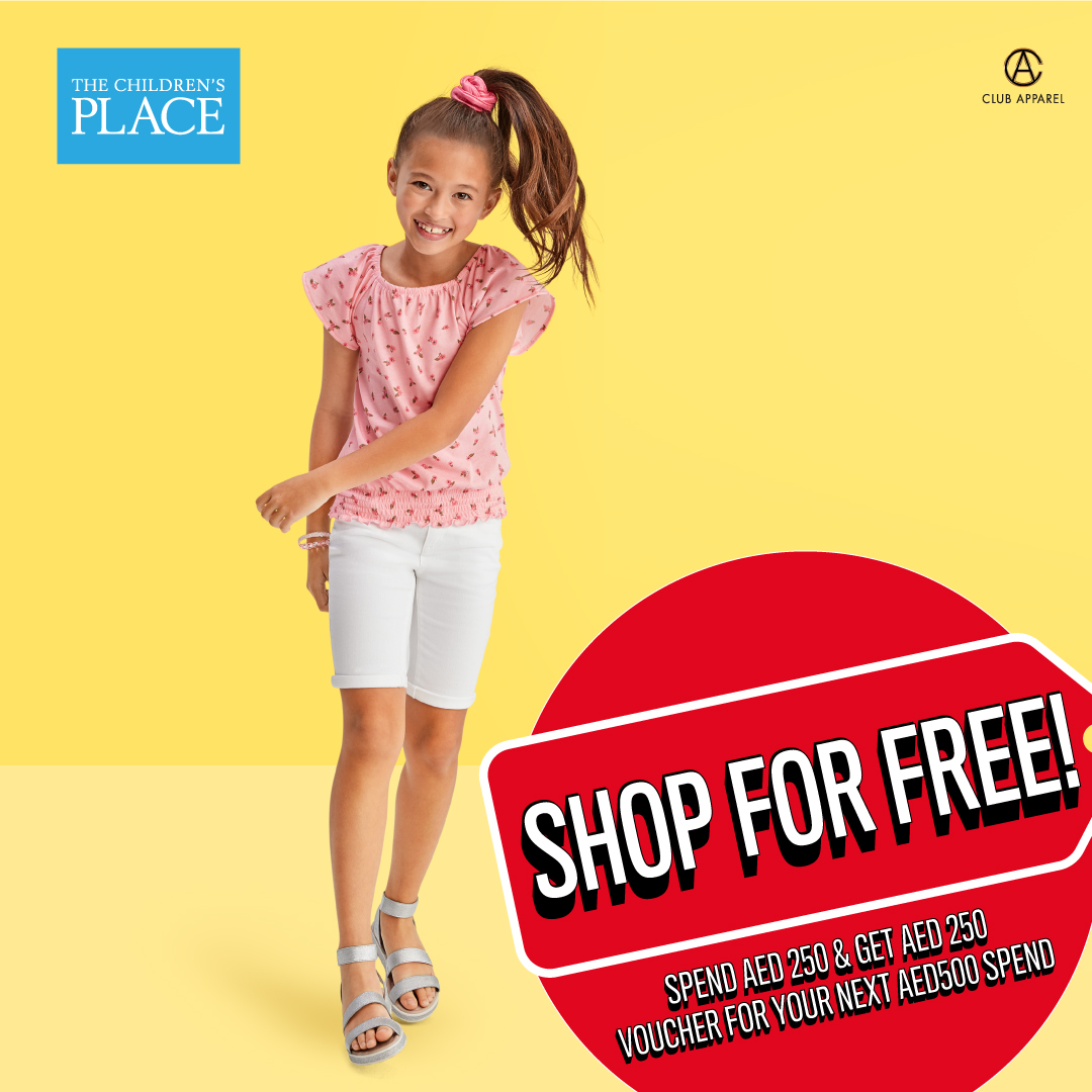 This weekend, SHOP FOR FREE Children's Place Arabia on the first floor! Get a Gift Voucher worth AED 250 for your next purchase when you shop for AED 250.  Head to The Children's place and shop from their latest collection.   #MyPlaceArabia #BawabatAlSharqMall #InAbuDhabi