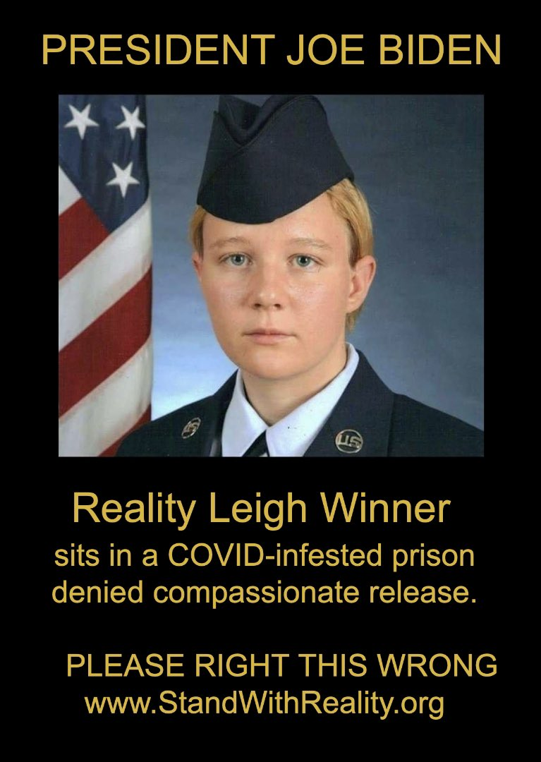 Reality Leigh Winner has already been punished enough for her crime of conscience. She has already been tortured by our system. Every day that this young veteran spends in prison is an injustice. .@POTUS please grant her clemency and #BringRealityHome #FreeRealityWinner