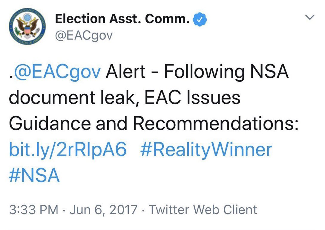 We've had an insurrection in the United States of America. Why is USAF Veteran Reality Winner still in prison? Give me a break. This was a pure political persecution. Reality is a conscious driven whistleblower who ALERTED Russia was meddling in our election infrastructure. 👇
