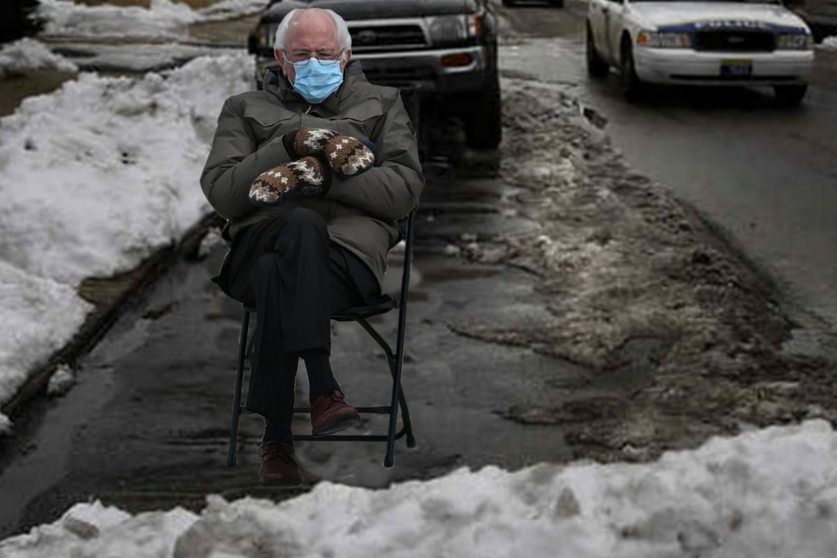 Yeah ! Temps going up will hopefully melt some of this stuff.  Now that's what I call representation... Thanks for saving the spot #Bernie 🤣 #Berniememes #berniemittens