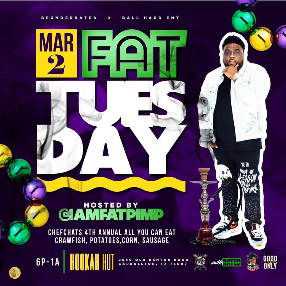 March 2nd Dallas we on some laid back Hookah Vibes for #FatTuesday at Hookah Hut in Carrollton!! We doing All-You-Kan-Crawfish!! This is official #MardiGras make up day!!!