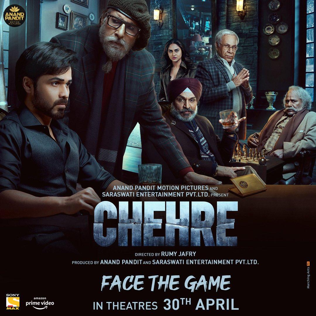 One more Poster shoot... #Chehre  @SrBachchan @emraanhashmi @anandpandit63 #RumiJafry @annukapoor_ @krystledsouza @SiddhantKapoor #RaghubirYadav #DhritimanChatterjee #SaraswatiFilms @apmpictures   #FaceTheGame