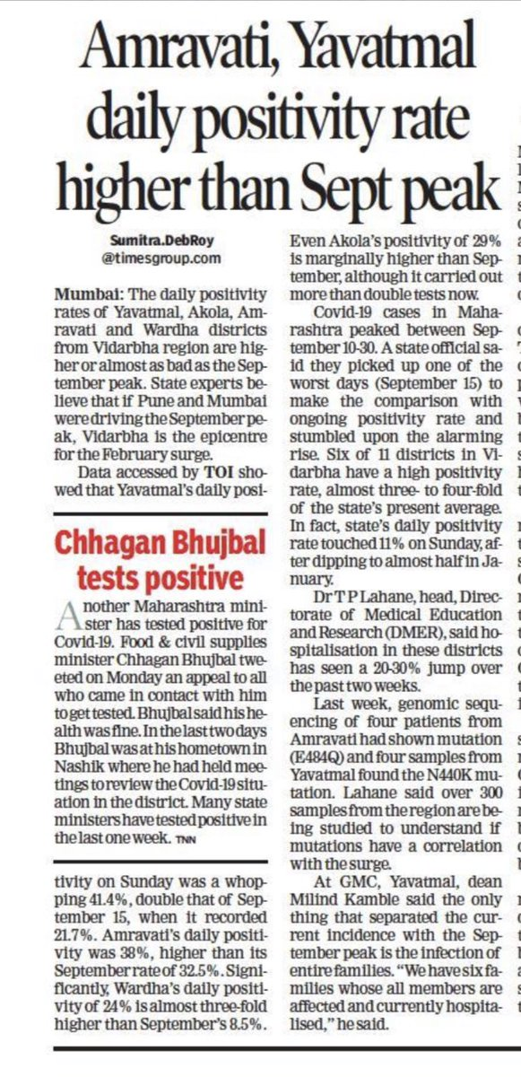 Daily positivity rates of Yavatmal, Akola, Amravati districts from Vidarbha region are higher than the September peak. Experts believe if Pune and Mumbai were driving the September peak, Vidarbha is the epicentre for the February surge. https://t.co/PglO3p3rM6 https://t.co/2RdTzcHgw8