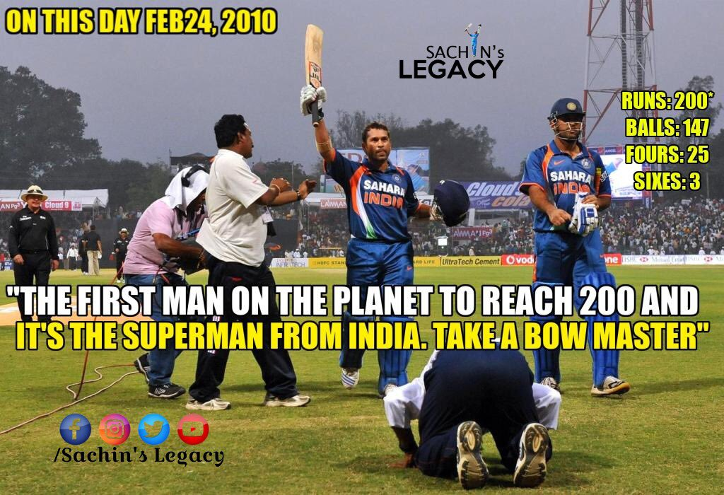 #OnThisDay in 2010 The First man on the planet to reach 200 and its the #Superman from #India #SachinTendulkar Take a bow #Master  #INDvENG  -A post from @sachin_rt pakistani fan page