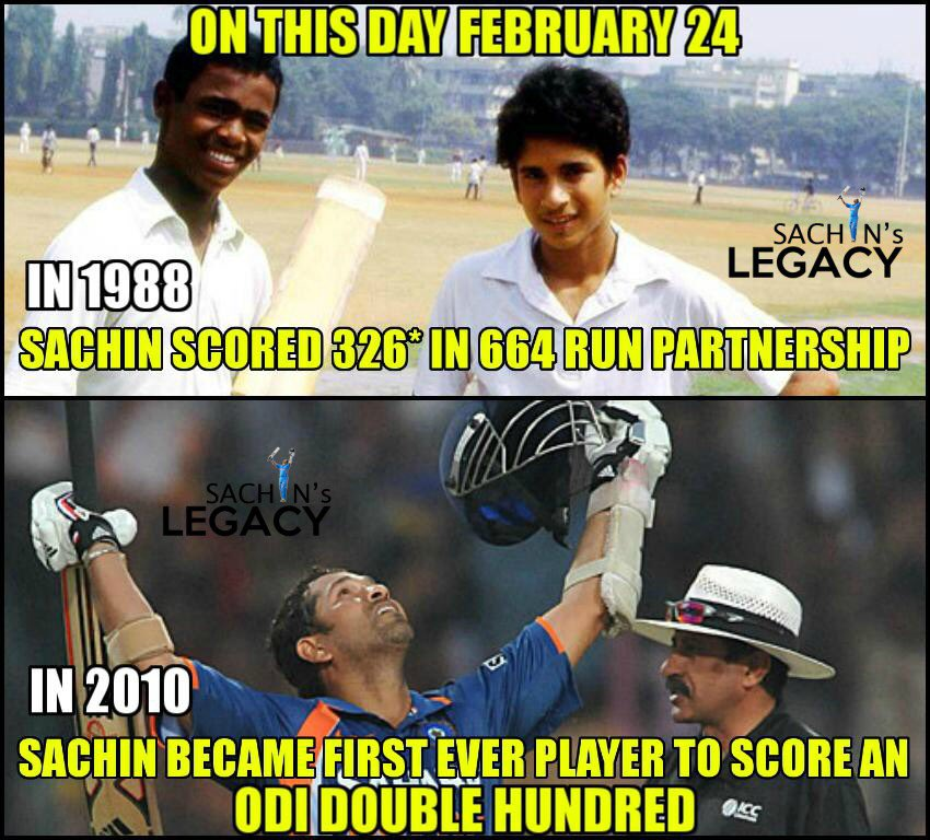 #OnThisDay  In 1988: #SachinTendulkar scored 326* in his 664 run record partnership in school cricket with @vinodkambli349   In 2010: #SachinTendulkar became First ever cricketer to score 200* in ODI history #INDvsENG #PinkBallTest  -A post from @sachin_rt pakistani fan page