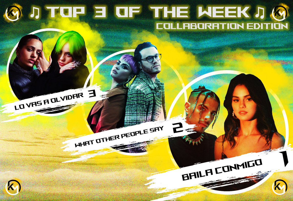 🎵TOP 3 COLLAB EDITION 🎵 Check out the best collab of the week ⬇️ 3️⃣ #BillieEilish & #Rosalia ⏯ #LoVasAOlvidar 🥺  2️⃣ #SamFischer & #DemiLovato ⏯ #WhatOtherPeopleSay 🚇 1️⃣ #SelenaGomez & #RauwAlejandro ⏯ #BailaConmigo 💃  Read more about this Top & more on my Instagram 😉🙏