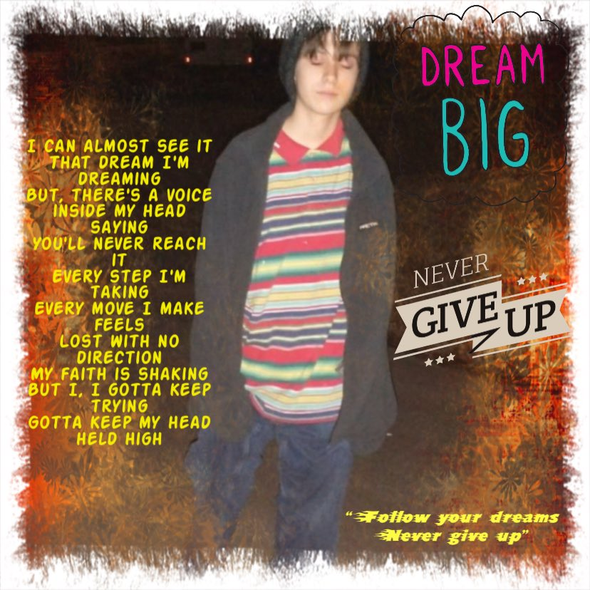 """#acestiles #nevergiveup #dreambig #followyourdreams  """"I, I gotta keep trying Gotta keep my head held high"""" never give up we here for you @acehasstiles1 we love you"""