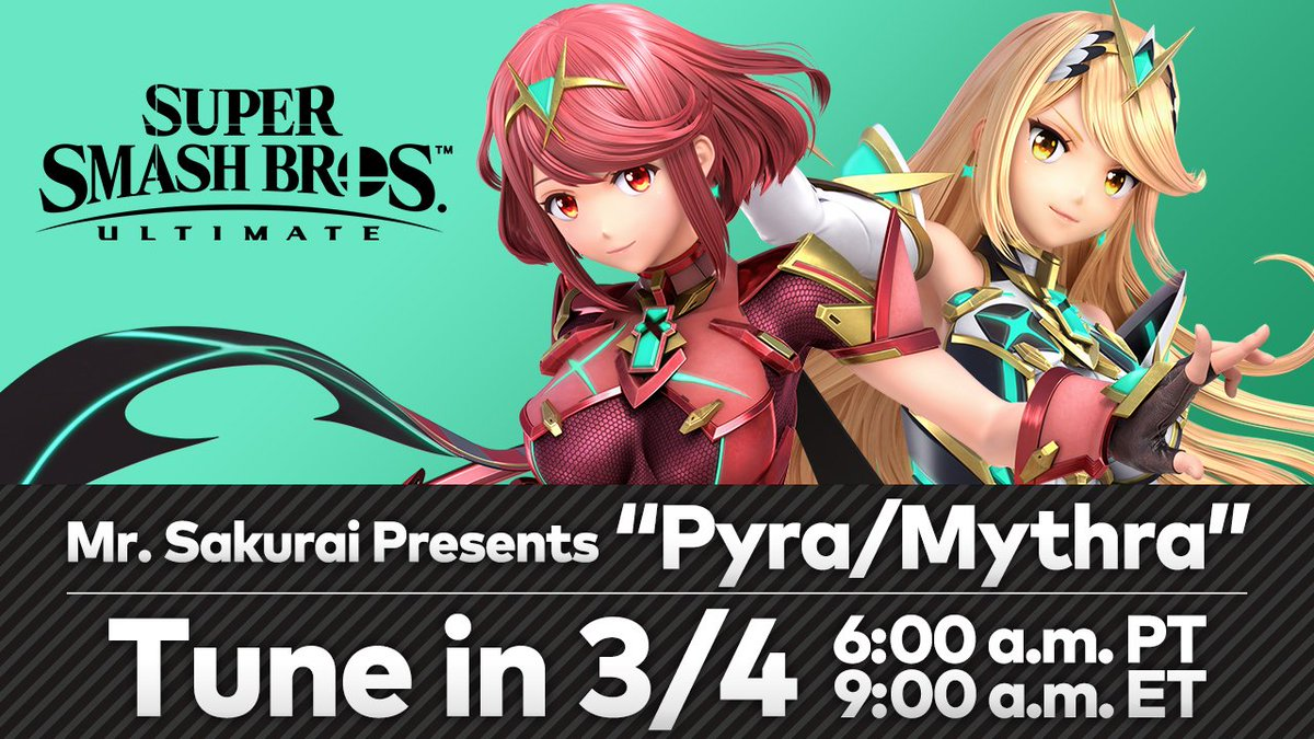 Tune-in on 3/4 at 6am PT for an in-depth look at the new Super #SmashBrosUltimate DLC fighter, Pyra/Mythra, with Director Masahiro Sakurai. He will also reveal the fighter's release date!