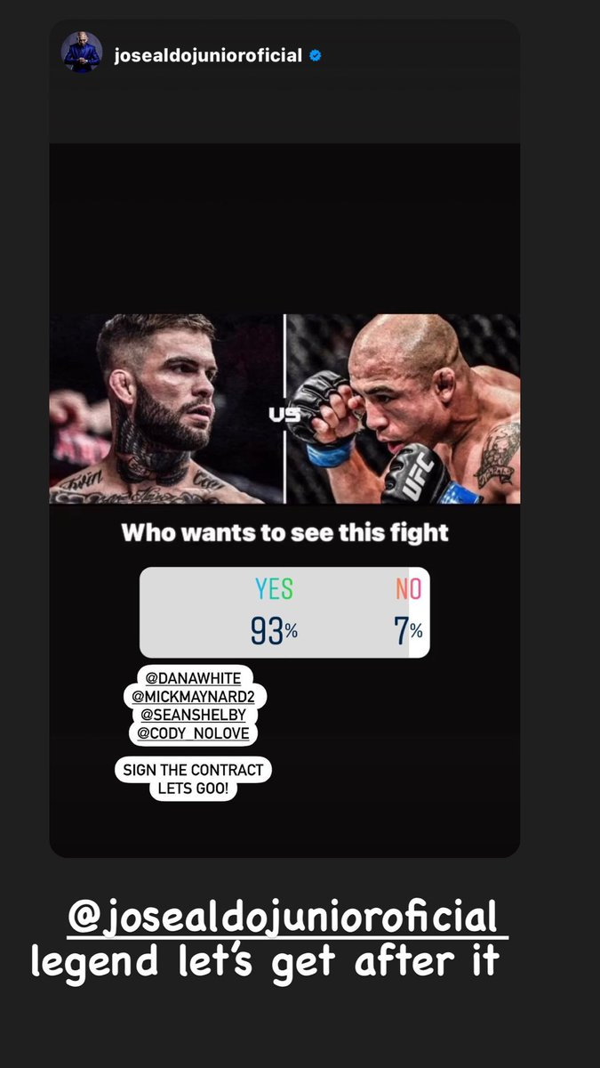 We doing this @josealdojunior @danawhite ?? We both say send the contracts 💪🏼💪🏼 https://t.co/o6jJRjsKrY