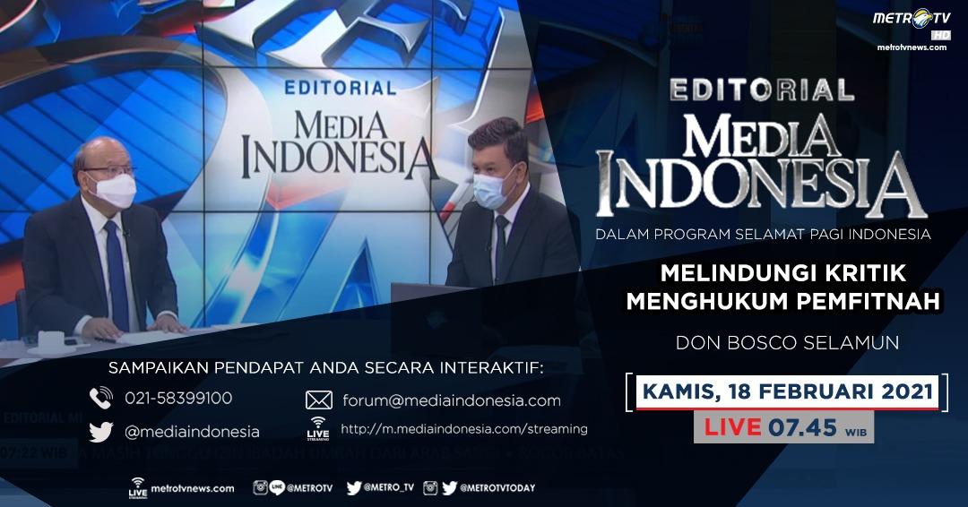 #EditorialMediaIndonesia hari Kamis (18/2) LIVE pukul 07.45 WIB dalam program #SPIMetroTV akan membahas soal rencana Kapolri terbitkan telegram bahwa yang boleh mengadu dalam kasus ITE hanya korban, bersama pembedah Don Bosco Selamun. @mediaindonesia