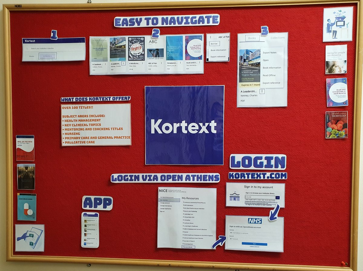 Kortext is our e resource of the month. Brand new to our library users, easy to access (via OpenAthens) and 100+ ebooks. What's not to love?! 😍Ask in the library for further information.  @sashnhs @Kortext https://t.co/HdqnNxIoaR