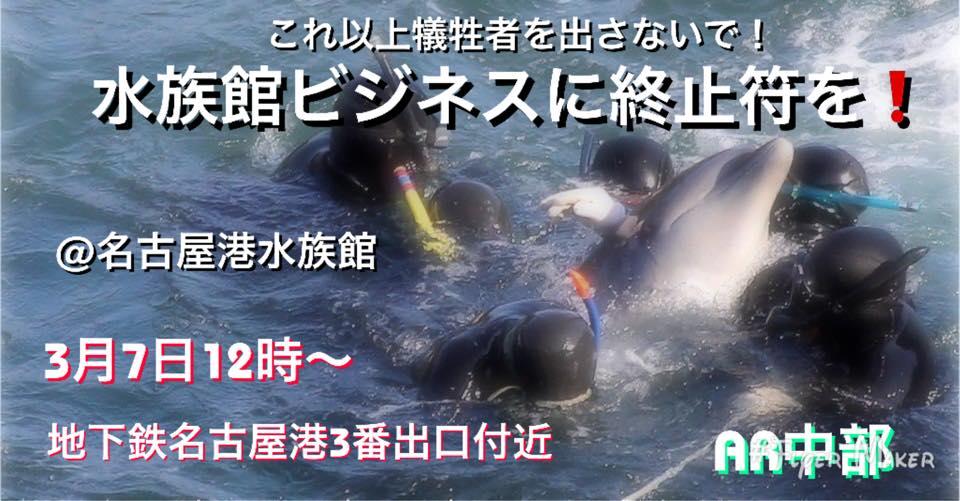 End the Aquarium Business – Demo at Port Nagoya Aquarium 🌄 Sunday, 7th March @ 11:00 AM → 3:00 PM 👭 👨👩👧👦⛩ Port Nagoya Subway Exit 3 ✨ Details ⇒  #PortNagoya #Nagoya #aquarium #dolphins #animals