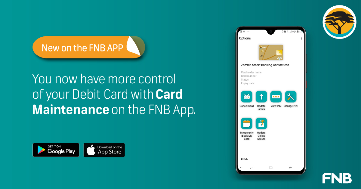 """You now have control of your Debit Card with Card maintenance under the """"Cards"""" icon on the FNB App. Let us help you manage your cards at your own convenience. #realhelp https://t.co/amZ4C5n5qV"""