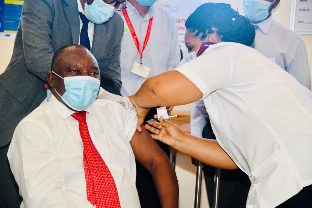 South Africa's President Cyril Ramaphosa leads by example and gets vaccinated against Covid-19. He tweets: