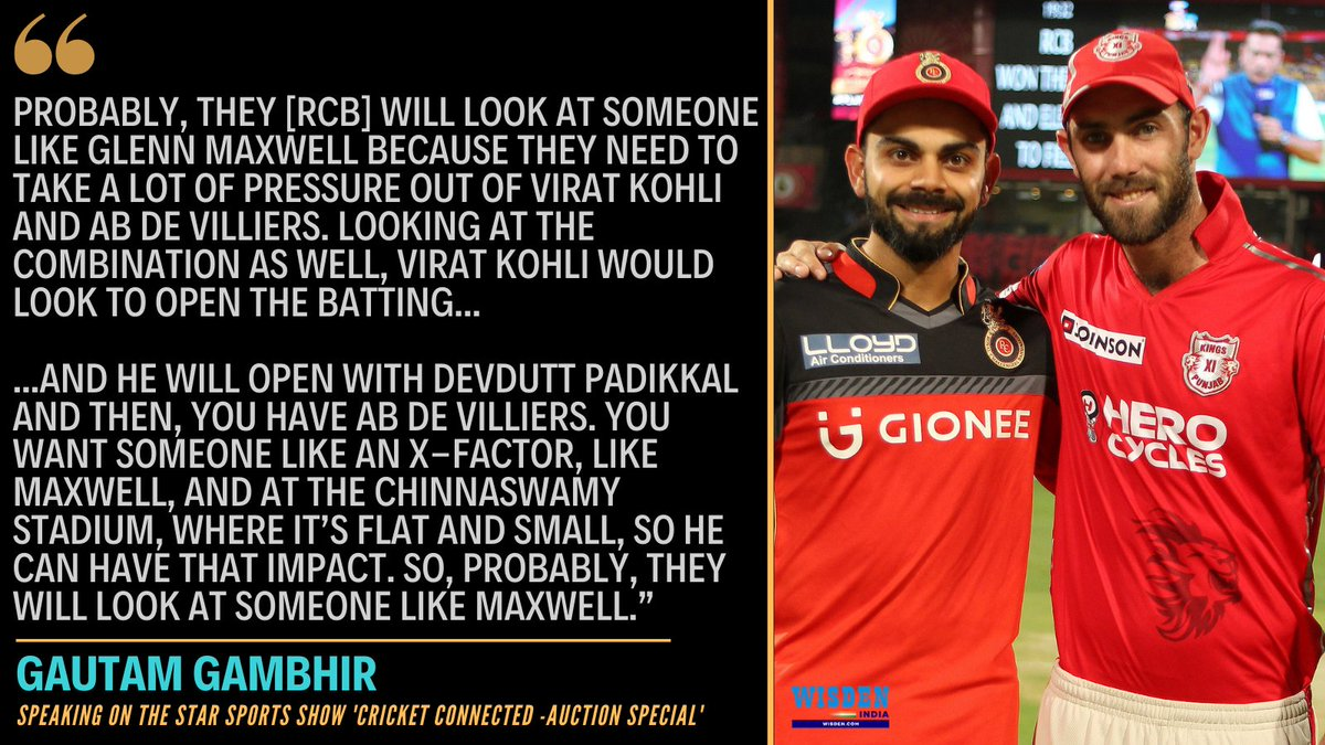 Gautam Gambhir feels that #RCB might target Glenn Maxwell in the #IPL2021 auction.  Do you think the all-rounder would be a good addition to the side?