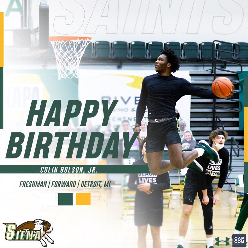 🎉🎂 #SienaSaints fans please join us in wishing a #HappyBirthday to freshman forward @colingolson❗️ Have a great day, Colin❗️ #MarchOn | #Attack | #Finish | #EAT